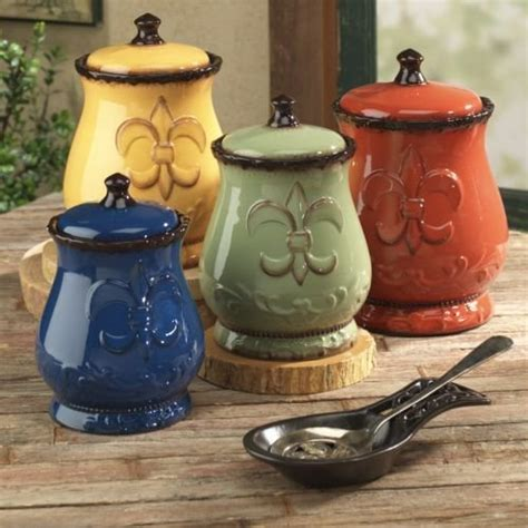 tuscany colorful hand painted fleur de lis canisters set