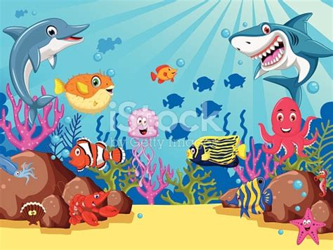 set of sea animals cartoon stock vector art & more images