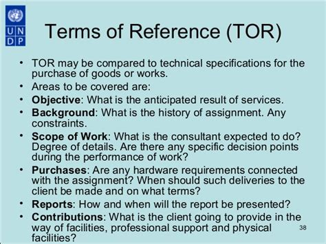 terms of reference template for consultant procurement best practices