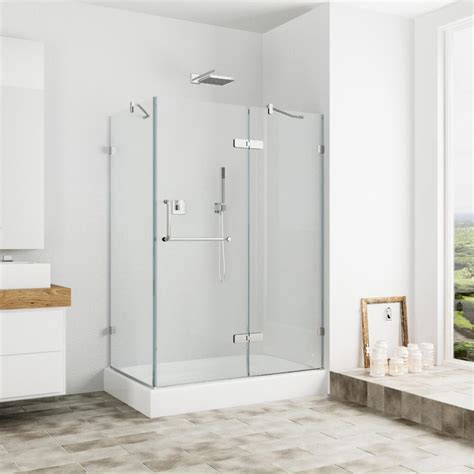 48 Glass Shower Door Vigo Monteray 48 125 In X 79 25 In Frameless Pivot Shower Door In Brushed Nickel And Clear