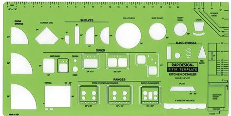 kitchen design templates rapidesign r 719 kitchen detailer drawing template kitchen planning stencil