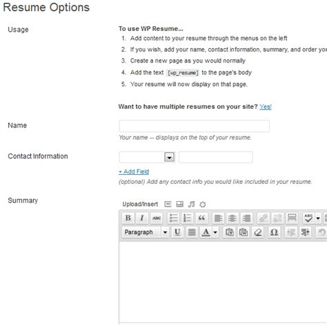 wp resume publish your resume to wp solver
