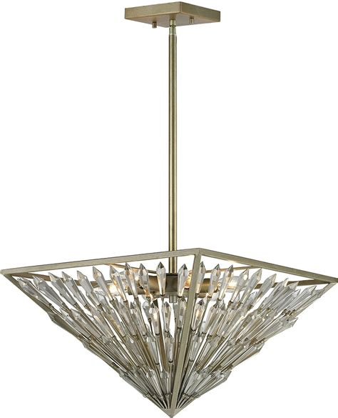 elk 31771 6 viva natura aged silver drop ceiling light