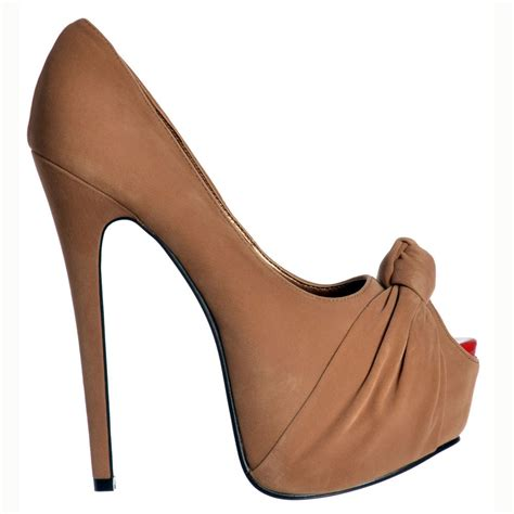 brown high heel shoekandi suede peep toe stiletto concealed platform high