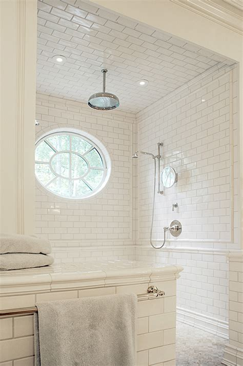 white subway tile walk in shower bright white bathrooms meghan carter