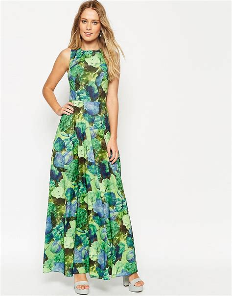 Maxi Flowery asos asos cross back maxi dress in green floral print at