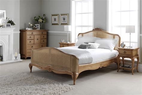 Charlotte French Inspired Oak Rattan Bed Solid Oak Bedroom Furniture In Uk