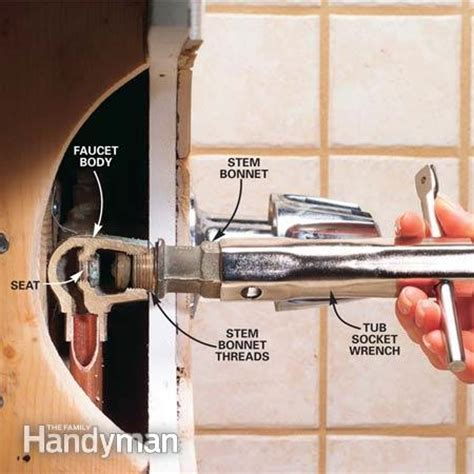 how to replace bathtub faucet stem how to repair a leaking tub faucet the family handyman