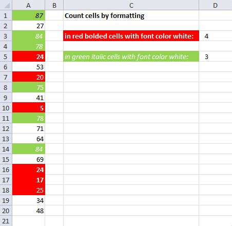 count colored cells in excel count cells by cell and font color