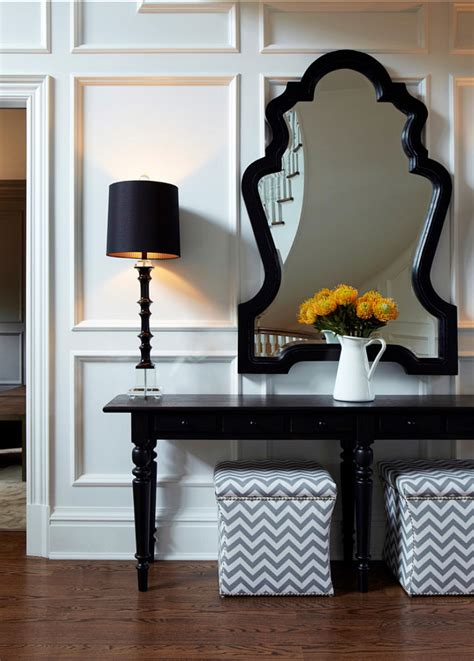 Beautiful Entryway Tables Traditional Home With Transitional Interiors Home Bunch