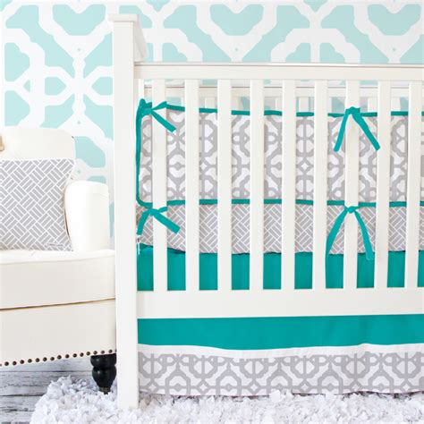 Mod Lattice Crib Bedding Set In Teal And Gray By Caden Lane Teal Crib Bedding Sets