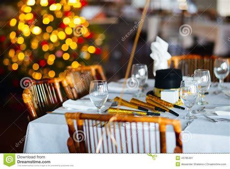 new year restaurant table setting for stock image image