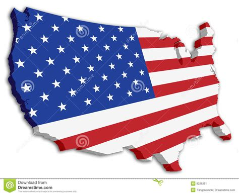 usa map states flags color usa 3d state flag map stock image image 8226291