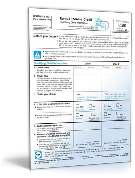 Earned Income Credit Tax Forms 2008 Schedule Eic With Form 1040a Or 1040 Form To