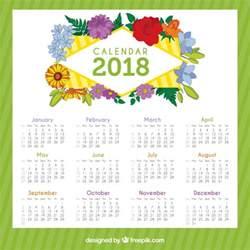 Calendario 2018 Baixar 2018 Calendar With Beautiful Flowers Vector Free