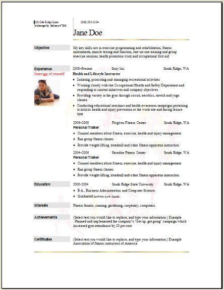 Sports Fitness Resume Occupational Exles Sles Free Edit With Word Athletic Resume Template
