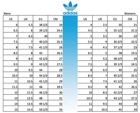 adidas superstar size chart world  printable  chart