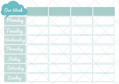 search results for printable weekly family calendar page