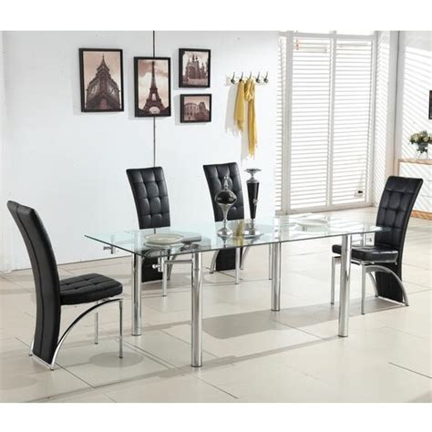 Alicia Extending Glass Dining Table With 6 Ravenna Black Extending Black Glass Dining Table And 6 Chairs Set