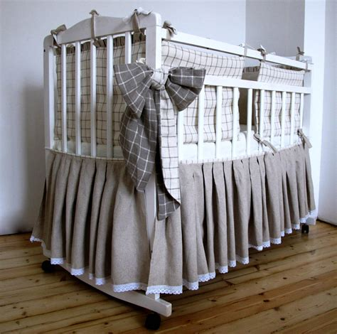 Crib Bed Skirts Linen Bed Skirt For A Baby Crib Skirt Custom Color