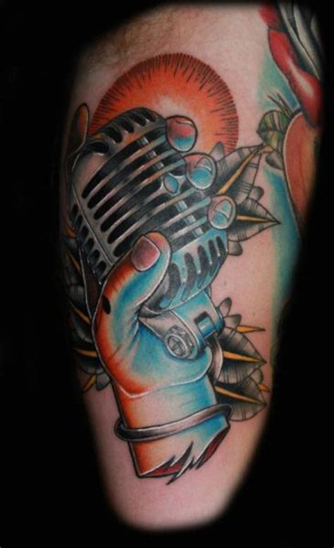 tribal microphone tattoo arm new school microphone by fatink