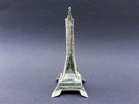 Origami Tower - eiffel tower money origami dollar bill vincent the artist