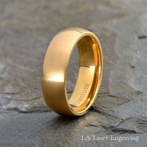 mens titanium wedding band yellow gold plated brushed