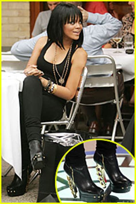 Rihanna Sports Some Killer Heels At Bets 106 Park In New York by Rihanna Wears Brass Knuckle Boots In Rihanna