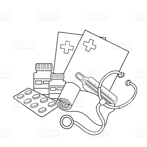 simple medical logo coloring page outline of medical