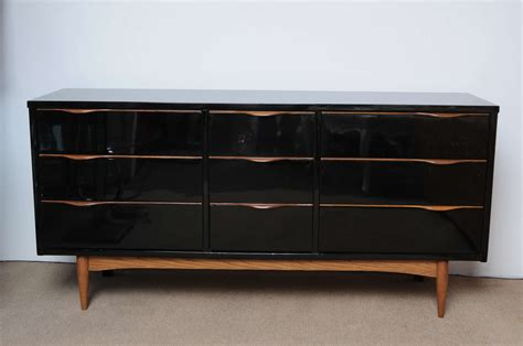 black lacquer dresser furniture midcentury high gloss black lacquer and teak dresser at