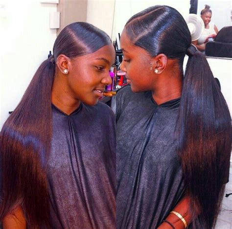 the middle part with weave in a ponytail ponytail to see more follow kiki slim hairstyles