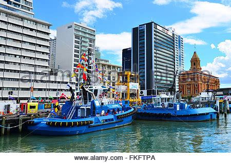 tugboat in auckland harbour new zealand stock photo - Tug Boat Auckland Harbour