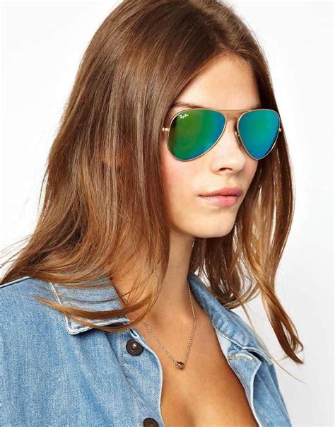 lyst asos rayban green mirrored aviator sunglasses  blue