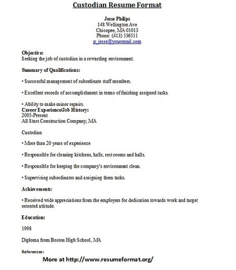 Church Custodian Resume Sle Custodian Resume Format Flickr Photo