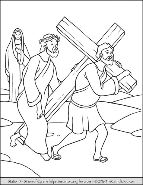 coloring page jesus cross stations of the cross coloring pages 5 simon of cyrene