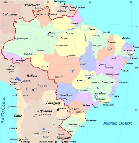 brazil map large detailed administrative and political map of brazil