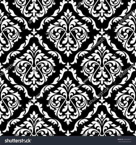 black and white victorian pattern white foliage damask seamless pattern victorian stock