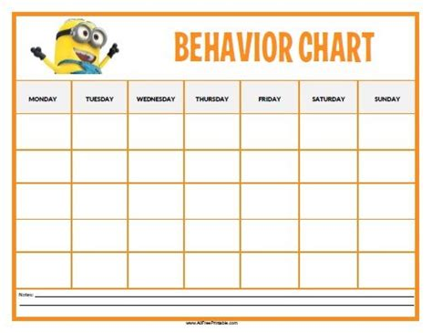 printable incentive charts for school free printable minions behavior chart toddlers and