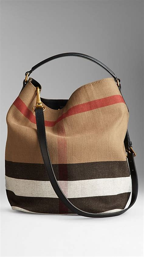 Burberry Check Canvas Hobo by Medium Canvas Check Hobo Bag Black Burberry