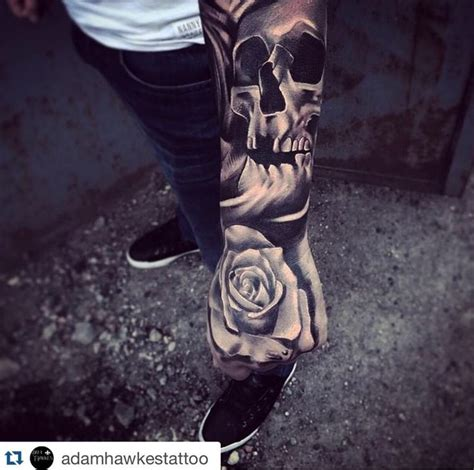 full hand skull tattoo awesome work by resident artist adam hawkes tattoo