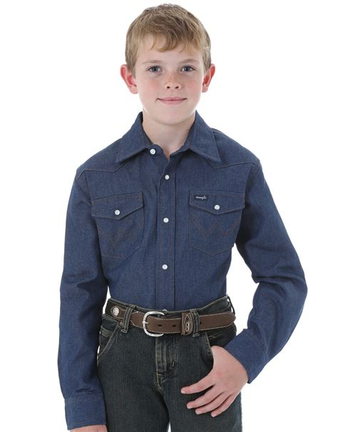 Boy Denim Shirt wrangler boys western denim snap shirt