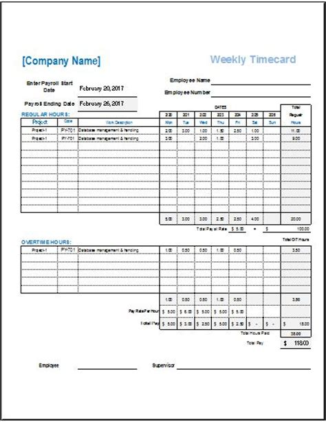 card template xls daily weekly monthly time cards for employees word
