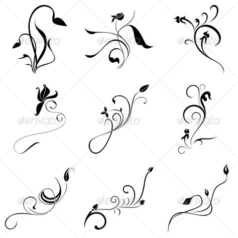 curly tattoo designs curly flowers designs vector pack graphicriver