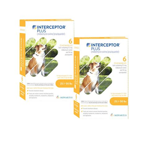 interceptor for dogs interceptor plus yellow for dogs 25 1 50 lbs 12 month