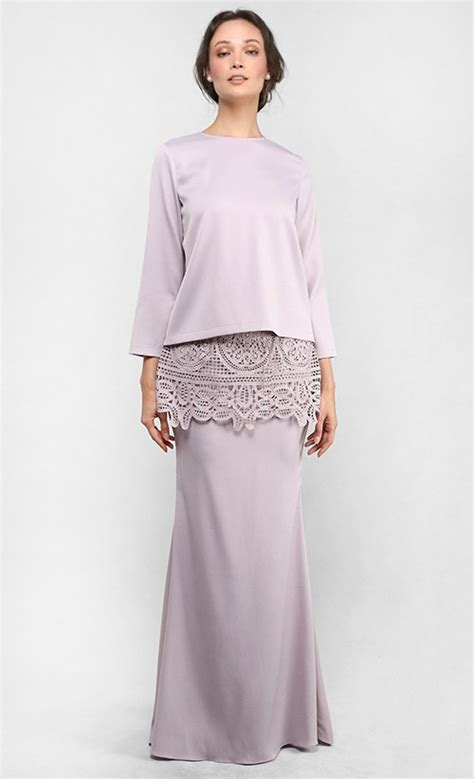 Baju Elegan Jumpsuit Agatha Lace the kurung with lace peplum skirt in light taupe fashionvalet