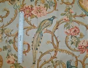 schumacher madrigal birds scrolls linen fabric blue multi