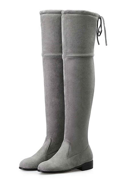 gray suedette pointed laced back the knee flat boots