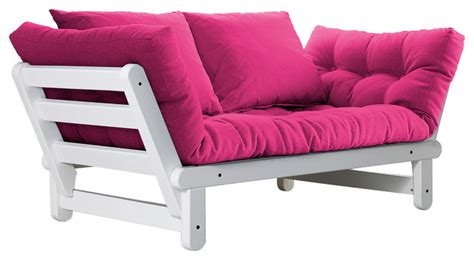 Pink Futons by Beat Convertible Futon Sofa Bed White Frame Pink