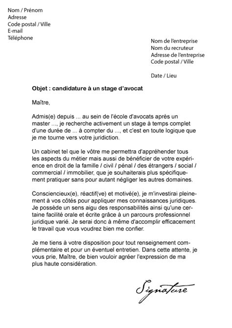 Stage Licence Lettre De Motivation Lettre De Motivation Stage Avocat Mod 232 Le De Lettre