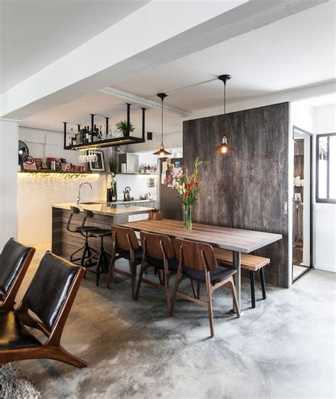 utilitarian apartment industrial dining room